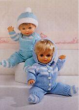 "Dolls Vintage Knitting Pattern Hat Socks Sweater Cardigan Dungaree 12-22"" P5093"