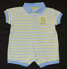 Carter's Frog Romper Baby Boy Green Blue Striped Size 3 Months Shorts