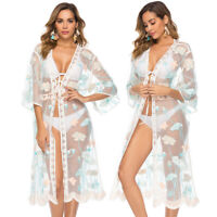 Womens Chiffon Flower Beachwear Swimwear Bikini Beach Wear Lace Cover Up Kaftan