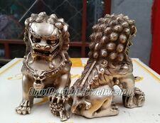 Old Tibet Silver Lion Foo Fu Dog Door guard Copper Statue A Pair H:14cm