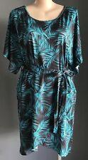 COMFORT by VOK Black & Aqua Green Palm Print Tie Waist Tulip Dress Plus Size 22