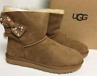 Ugg Australia Mini Bailey Bow Brilliant Chestnut Shearling Suede 1019725 Bling