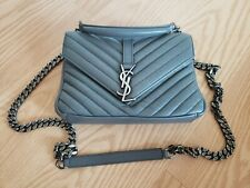 YSL Saint Laurent College Medium Crossbody Shoulder Bag Grey