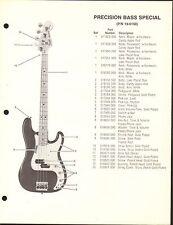 VINTAGE AD SHEET #3609 - FENDER GUITAR PARTS LIST - PRECISION BASS SPECIAL