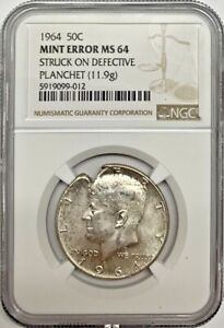 1964 Kennedy Half Dollar Mint Error NGC MS64 Struck on Defective Planchet Coin