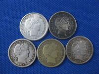LOT OF 5 BARBER DIME 10 CENT COINS 1912 1912 D 1914 D 1914 D 1916