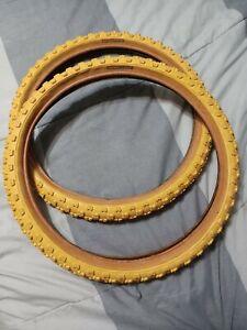 "NOS Mitsuboshi Comp 4 iv 20"" yellow Bmx Tires gumwall Hutch Haro CW PK motomag"