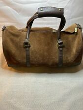 Rugged New Vintage Marlboro Brown Suede Leather Duffle Gym Bag Carry On Travel