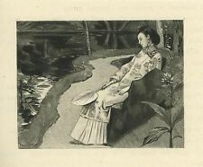 ANTIQUE CHINESE GEISHA GIRL FAN ORIENTAL GARDEN LOTUS MINIATURE SMALL ART PRINT