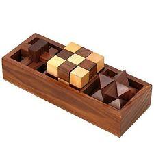 Wood Desktop Game Cubes Intelligence Stimulate Brain 3D Puzzles Teaser Hot NEW