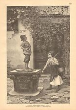 Child, King Of The Well, Water Girl At Village Well, 1894 German Antique Print