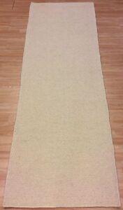 Plain Cream Handwoven Modern Wool Dhurrie Runner Kilim Rug Large 80x250cm 60%OFF