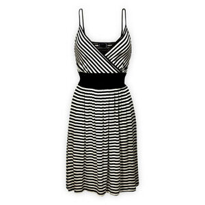 Womens Ladies Knee Length Striped Jersey Strappy Cami Straps Fit Flare Dress