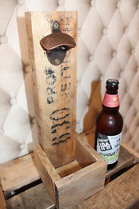 Beer Bottle Opener-Wall Mount- Fathers Day Gift Wood with(out) cap catcher