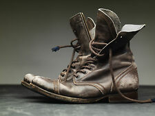 All Saints Brown Leather Military Boots Mens 41 (Q)