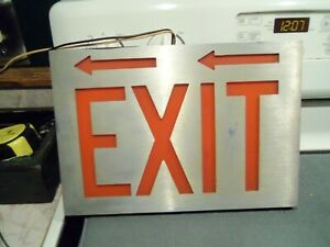 Vintage Brushed Aluminum Exit Sign Used Working