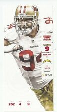2014 SAN FRANCISCO 49ERS VS SAN DIEGO CHARGERS TICKET STUB 12/20 JUSTIN SMITH