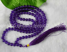 8mm Amethyst Crystal 108 Mala Prayer Beads Buddhist, meditation, Hinduism JN482