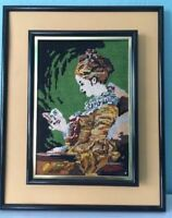 Vintage Retro Needlepoint Framed Art