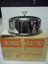 VTG KROMEX Chrome & Glass Cake Server KAKOVER No 520-21 in Original Box USA Made