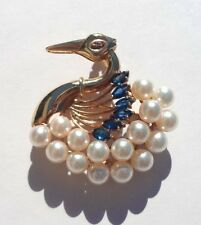 VINTAGE 14K PEARL & SAPPHIRE SWAN PIN/ BROACH/ PENDANT PRICED TO SELL!!!