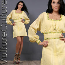 Vintage 60s Hippie Boho Dress Yellow Embroidered POUF Eyelet Dolly Mini S