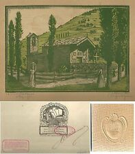 1930 CHIESA VALDOSTANA ACQUALAGNA Valle d'Aosta Xilografia M. Alessandri Torino