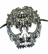 Black Venetian Style Metal Filigree Skull Masquerade Mask Halloween Masked Ball