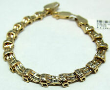 DIAMOND BRACELET SOLID 14K Yellow GOLD BAGUETTE CUT 2.65TCW 18 grams 7.5 inches