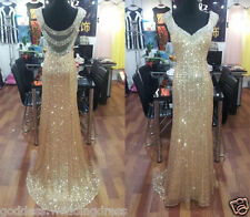 Sexy Gold sequins Long Prom Dress Formal Evening Party dress Ball Gown custom Sz