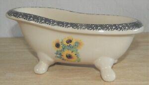 Vintage Ceramic Bathtub Soap Dish Fine Porcelain Footed Tub w/Sunflowers EUC