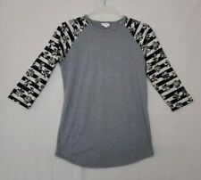 LuLaRoe Randy Baseball Tee S Heather Gray Body/Black/White Striped Sleeves (Q)