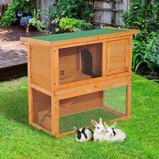 PawHut 2-Tier Rabbit Hutch Pet Cage Run Guinea Pig Hutch Sliding Tray