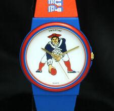 1989 New England PATRIOTS SWISS TIME NFL RETRO Logo 80s Watch VTG RARE ETA NOS X