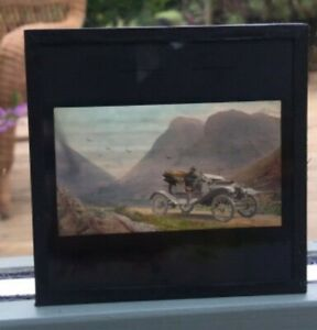 UNUSUAL ANTIQUE MAGIC LANTERN SLIDE WITH A MOTOR CAR IN THE SCOTTISH HIGHLANDS