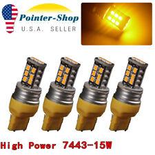 4X 7443 T20 15W Amber/Yellow 4300K High Power InteriorTail Brake LED Light Bulbs