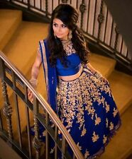 Bollywood Indian Blue Lehenga Choli Party Wear Saree Pakistani Lengha Lehenga