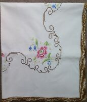 Vintage Cross Stitch Floral Crocheted Edge Square Tablecloth