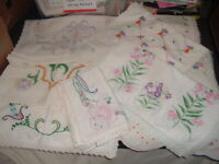 12 Vtg Lot 50s Embroidered Runners with Crochet Lace Edges Cutters Crafts #PE