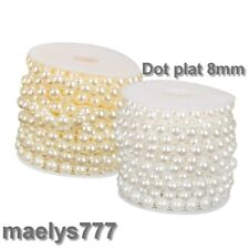 Ruban galon demi perle 8mm Scrapbooking  décoration mariage fête bijoux.1m x 8mm
