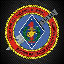 USMC 2nd Battalion 7th Marines Insignia Military Graphics Decal Sticker Car