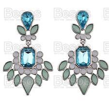 PALE vintage pastel GREEN TOPAZ BLUE rhinestone CHANDELIER EARRINGS uk GIFT BAG