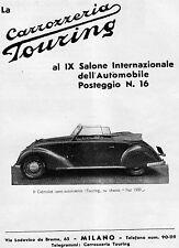 PUBBLICITA' 1936 CARROZZERIA TOURING MILANO AUTO CABRIOLET SU CHASSIS FIAT 1500