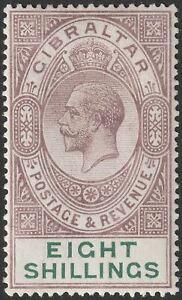 Gibraltar 1924 KGV 8sh Dull Purple and Green Mint SG101 cat £325