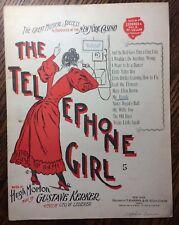 1899 Antique Original TELEPHONE GIRL Sheet Music NEW YORK CASINO Musical Kerker
