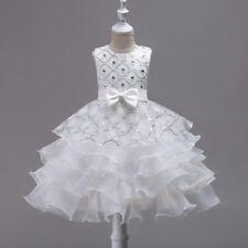 Wedding Flower Girls Bridesmaid Ruffles Lace Cute Bow White Evening Dress Size 4