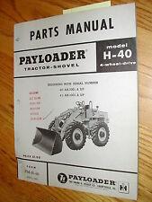 Hough H-40 PARTS MANUAL BOOK CATALOG WHEEL PAYLOADER GUIDE LIST International IH