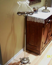 Vintage Adjustable Brass Harp Scroll Lyre Sheet Music Stand