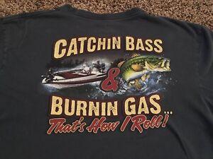 Bass Pro Shop T-Shirt Catchin Bass & Burnin Gas Buck Wear Outdoor Men's XL