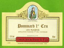 "Etiquette Vin de Bourgogne-Pommard 1er Cru""Les rugiens-Groubier-Réf.n°442"